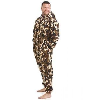 Combinaison pyjama en polaire d tail poches motif camouflage homme taille s 5 xl - Combinaison polaire homme ...