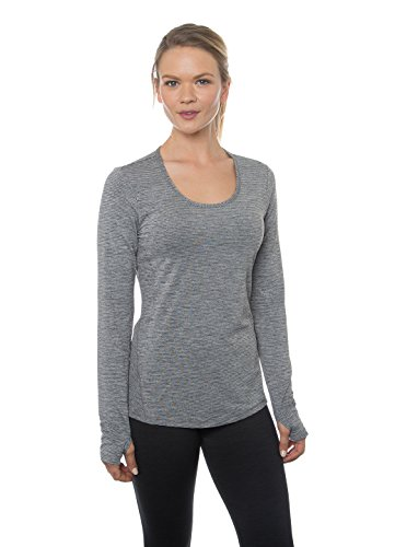 RBX Active Women's Long Sleeve Striated Heathered Stripe Shaped Scoopneck Tee Black L