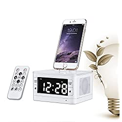 ChiTronic® Stereo FM Clock Radio with Lightning Dock for iPhone 5/5S and 6/6Plus iPod (White)