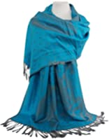 GFM Reversible Elegant Pashmina in Peacock Feathers Design - Soft Touch & Warm - Winter Autumn Scarf , Shawl, Wrap