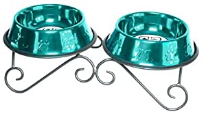 Platinum Pets 24-Ounce Double Diner Stand with 2 Bowls, Caribbean Teal