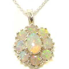 Luxury Ladies Solid White 9K Gold Natural Fiery Opal Large Cluster Pendant Necklace - Ideal for Christmas Birthday Anniversary or Mothers Day Gift