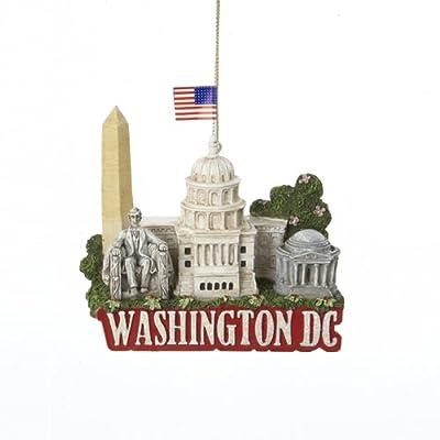 "3.25"" Glittered US City Travel Washington DC Christmas Ornament, Capitol, Washington Monument, Jefferson Memorial"
