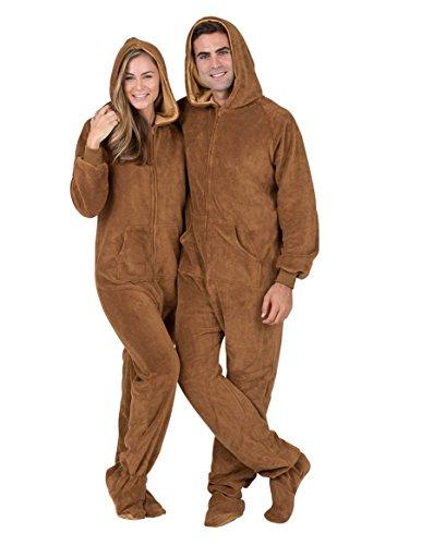 Footed Pajamas - Teddy Bear Adult Hoodie Chenille - Medium (Teddy Bear Onesie compare prices)