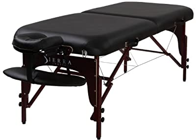 Sierra Comfort Premium Portable Massage Table with Mahogany Finish, Black