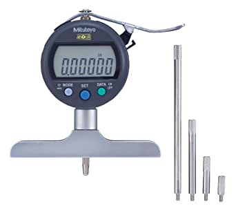 "Mitutoyo 547-258SCAL Absolute Digimatic Depth Gauge with Calibration, Inch/Metric, Indicator Type, 4"" x 0.63"" Base, 0-8"" (0-200mm) Range, 0.00005"" (0.001mm) Resolution, +/-0.0003"" Accuracy"