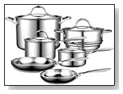 Cooks Standard NC-00210 Multi-Ply Clad Stainless-Stainless Steel 10 Piece Cookware Set