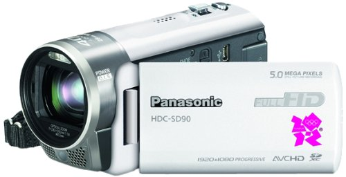 Panasonic Limited Edition SD90 Full HD 1920 x 1080p (50p) Camcorder - White (Official Leather Case, 40x Intelligent Zoom, 28mm Wide Angle) 3.0 inch LCD