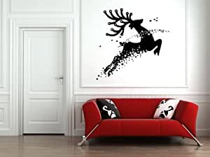 Reindeer and Stars Vinyl Wall Decal Sticker Graphic By LKS Trading Post