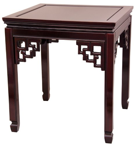 "Elegant End Table - 22"" Chinese Design Rosewood Ming Table - Classic Rosewood"