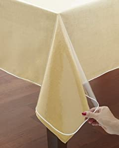 "Clear Vinyl Tablecloth Protectors. Hemmed Border. Protects Linens from Spills. Various Sizes (60"" x 90"" OBLONG)"