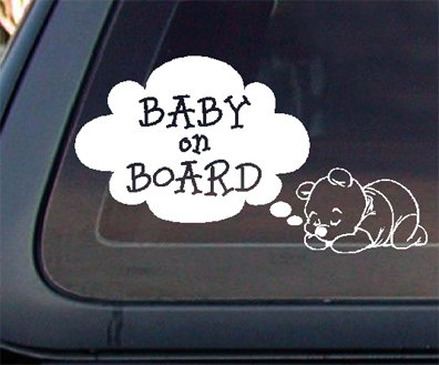 Bear Baby on Board Car Decal / Sticker - White