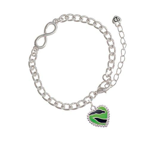 Lime Green Zebra Print Heart Infinity Bracelet
