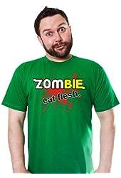 ZOMBIE EAT FLESH T-Shirt Funny Parody TEE Fresh Hilarious Joke Zombies dead