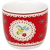 Red Vintage Doily Porcelain Egg Cup