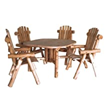 Hot Sale Lakeland Mills CF4730 Cedar Log  Roundabout Table with Four  Chairs