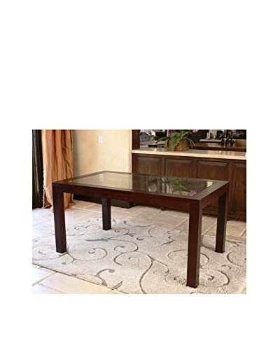 Abbyson Living Montego Wood Glass Dining Table, Cappuccino