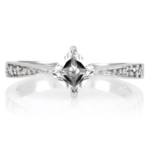 Elisa's Promise Ring - Clear Princess Cut CZ