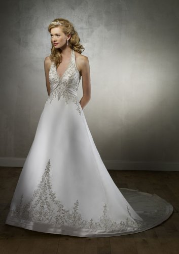 Duchess Satin Halter Wedding Gown