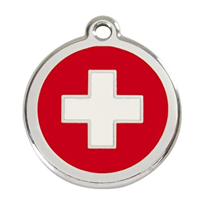 Red Dingo Custom Engraved Stainless Steel and Enamel Dog ID Tag - Swiss Cross