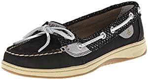 Sperry Top-Sider Women's Angelfish Fishscale Boat Shoe, Black, 6.5 M US