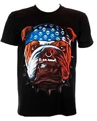 English Bull Dog Bandana - Biker Rock Printed T Shirt Mens Small Black from Ugly Duck Clothing