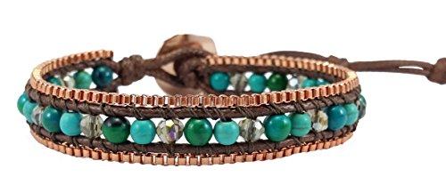Turquoise Agate Crystal Leather Wrap Bracelet , Single Wrap, 4mm/bead