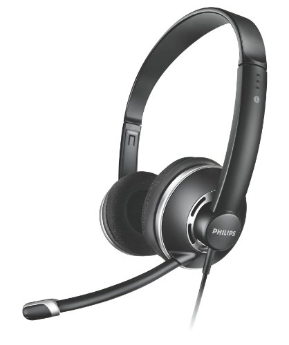 Philips SHM7410U Full Size Headset mit Lautstärkeregelung im Kabel und Noise Cancelation Mikrofon