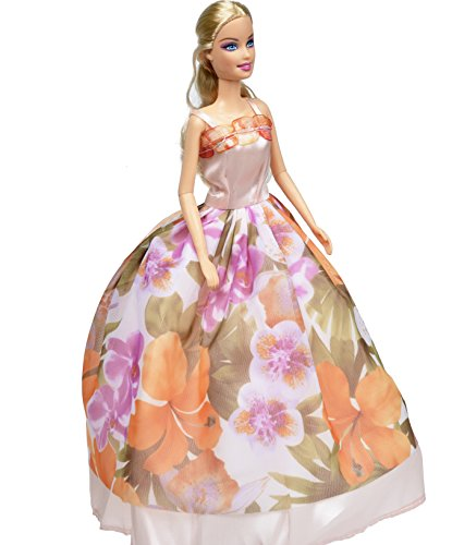 Banana Kong Snowflake Glitters Flowers Dolls Dress Gown 2 pieces