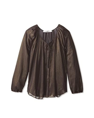 Lola & Sophie Women's Sheer Metallic Peasant Top
