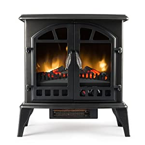 Jasper Free Standing Electric Fireplace Stove 25 Inch Black Portable Electric