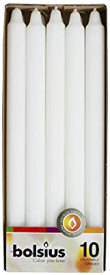 Bolsius Set of 10-12 inch Household Taper White Candles