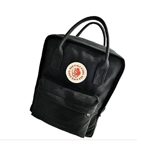 Anes&Ane 2way バッグ [ 男女兼用 / ユニセックス ] リュックサック / バックパック スクエア 型 キャンバス カジュアル デイバッグ (ブラック)