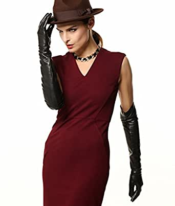 "WARMEN Super Long 22"" Women Genuine Soft Nappa Leather Opera Gloves (M, Black)"