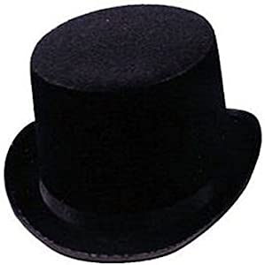 Black Felt Top Hat Steampunk Accessories for Men & Women and Cosplay Dress Up