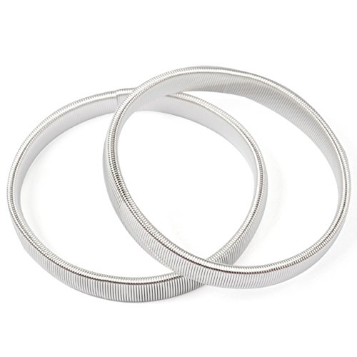 Yaheetech 2 Pcs Shirt Sleeve Holders Metal Strechy Garter Armbands Silver