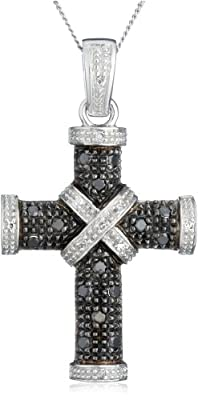 Carissima 9ct White Gold 0.25ct Black and White Diamond Cross Pendant on Adjustable Curb Chain Necklace 46cm/18""
