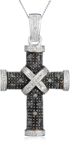 9ct White Gold 0.25ct Black and White Diamond Cross Pendant on Adjustable Curb Chain Necklace 46cm/18