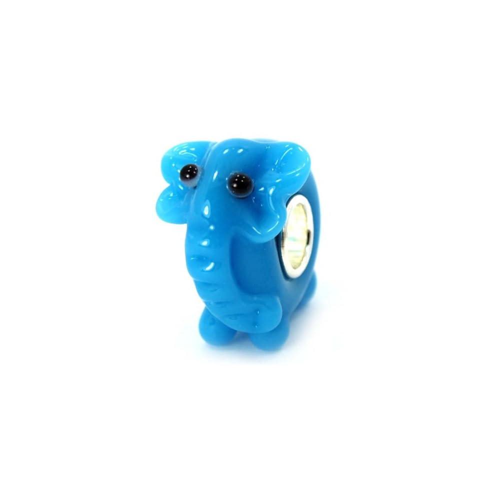 .925 Sterling Silver Glass 3D Elephant Charm Bead for Snake Chain Charm Bracelets