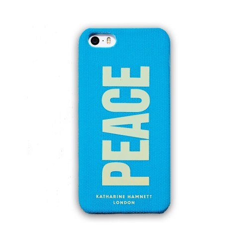 Simplism × KATHARINE HAMNETT LONDON iPhone5/5S用 ファブリックカバーセット ICカードホルダー付 防磁シート同梱 ブルー TR-KHFCIP14-BL