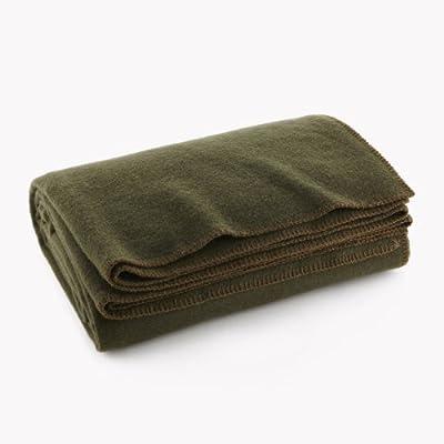 """Olive Drab Green Warm Wool Fire Retardent Blanket, 66"""" x 90"""" (80% Wool)-US Military"""