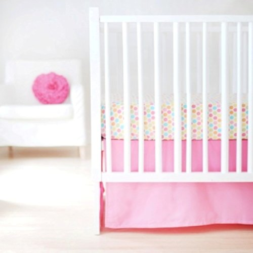 New Arrivals Sweet and Simple Crib Bedding Set, Hot Pink, 2 Piece