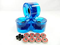 Big Boy 65mm Blank Pro Longboard Skateboard Cruiser Wheels (Clear Blue) + ABEC 7 Bearings + Spacers
