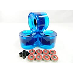 Buy Big Boy 60mm Pro Longboard Skateboard Cruiser Wheels (Clear Blue) + ABEC 7 Bearings + Spacers by Big Boy