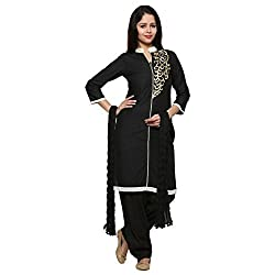 Anksh Embroidery Black Cotton Kurti, Salwar & Dupatta For Women (Size-XXL)