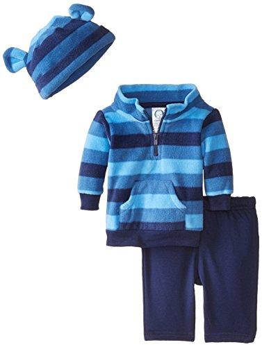 Gerber Baby Boys' 3 Piece Micro Fleece Top Cap and Pant Set, Blue Stripe, 3 6 Months Reviews