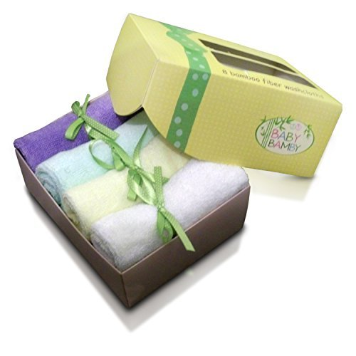 Bamboo Baby Washcloths (8 Pack) Soft Cloth Wipes New Baby Shower Registry Gifts (Yellow Gift Box)