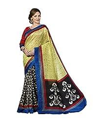 Vipul Madhubani Silk Green Ikat Print Saree With Embroidered Blouse