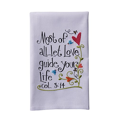 Manual Woodworkers & Weavers 93314 Hand Towel Every Good & Perfect Gift White - 16 x 28 (Every Good And Perfect Gift compare prices)