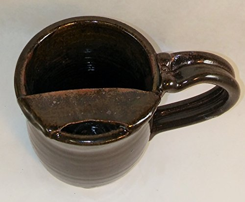 Aunt Chris' Pottery - Hand Made Clay - Right Handed Large Drinking Mug (Cup) With Mustache Guard - Dark Brown Glazed - Mug With Comfortable Loop Handle (Mustache Cup compare prices)